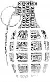 stock photo of war terror  - Tag or word cloud war or terrorism related in shape of grenade - JPG