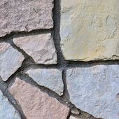 Stone Fence Background, Vertical Stonewall Closeup, Decorative Limestone Dolomite
