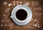 picture of internet-cafe  - Close up of cup of coffee on table with sketches on background - JPG
