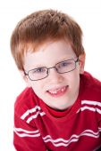 stock photo of cute kids  - Portrait of a cute young boy with glasses isolated on white background - JPG