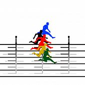 Athletics. Running hurdles