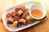 picture of crab-cakes  - deep fried crab meat roll cake Chinese style Food - JPG