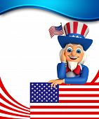 foto of uncle  - 3d rendered illustration of Uncle Sam is thinking - JPG