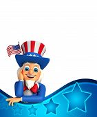 stock photo of uncle  - 3d rendered illustration of Uncle Sam is thinking - JPG