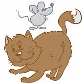 cat and mouse cartoon illustration