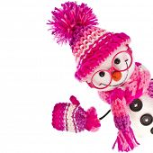picture of knitted cap  - cheerful snowman wearing glasses eyewear in  knitted pink hat  - JPG