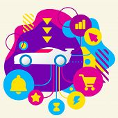 Sports Car On Abstract Colorful Spotted Background With Different Icons And Elements