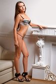 foto of nearly nude  - woman wearing lingerie standing near leather sofa - JPG