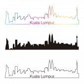 picture of kuala lumpur skyline  - Kuala Lumpur skyline linear style with rainbow in editable vector file - JPG