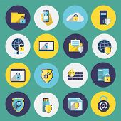 foto of security  - Information technology security flat icons set of computer mobile firewall protection isolated vector illustration - JPG