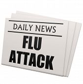 stock photo of epidemic  - Newspaper flu attack image with hi - JPG