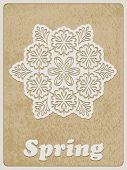 stock photo of std  - Vector Card white paper cut flower on rough paper texture Cooper STD standart ai font - JPG