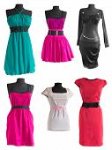 foto of dress mannequin  - collection of different colorful dress on a mannequin on a white background - JPG