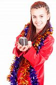 pic of pyjama  - teen girl in red pyjama white background - JPG
