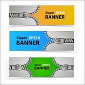 foto of zipper  - Colorful set of promotional sale banners with original zipper design - JPG