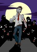 stock photo of zombie  - Illustration of a zombie invasion - JPG