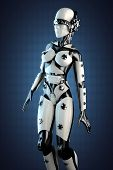image of cyborg  - woman cyborg of steel and white plastic - JPG