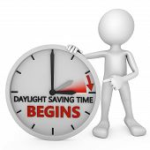 foto of daylight-saving  - man points to the time change to daylight saving time on white background - JPG