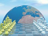 stock photo of chessboard  - Chessboard with earth planet and blue sky  - JPG