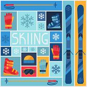 pic of ski boots  - Sports background with skiing equipment flat icons - JPG