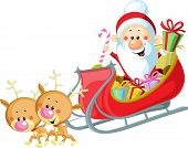 pic of sleigh ride  - Santa Sleigh and Reindeer isolated on white background - JPG