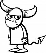 image of hobgoblin  - Black and White Cartoon Illustration of Funny Little Devil or Demon for Coloring Book - JPG