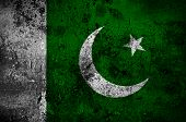 stock photo of pakistani flag  - grunge flag of Pakistan with capital in Islamabad - JPG