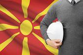 image of macedonia  - Architect with flag on background  - JPG