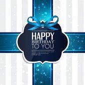 foto of birthday  - Vector birthday card with ribbon and birthday text - JPG