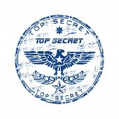foto of top-secret  - Blue grunge rubber stamp with eagle shape - JPG