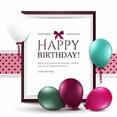 stock photo of helium  - Vector birthday card with balloons and frame - JPG