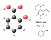 stock photo of skeletal  - Structural chemical formulas and model of salicylic acid molecule - JPG