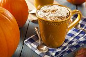 foto of latte  - Autumn Pumpkin Spice Latte with Milk and Cream - JPG