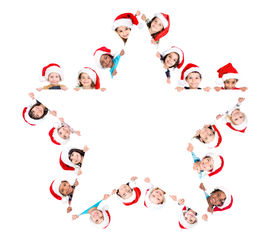 picture of star shape  - Group of children in Christmas with a star shaped white board isolated in white - JPG