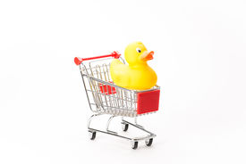 stock photo of caddy  - Caddy for shopping with duck on white background - JPG