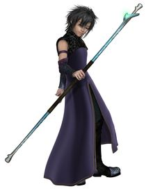 image of sorcerer  - Fantasy illustration of a young male elven sorcerer wearing purple velvet robes and carrying a magic staff - JPG