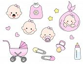 image of pacifier  - Cute baby girl icon collection including baby face bib carriage safety pins pacifier feeding bottle isolated on white background - JPG