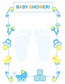 stock photo of baby duck  - Illustration of a baby shower invitation card for boy - JPG