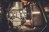 pic of carburetor  - Motorcycle carburetor with custom made air filter box - JPG