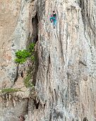 picture of overcoming obstacles  - Young female rock climber concept for overcoming obstacles - JPG