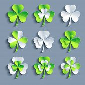 picture of saint patrick  - Set of stylized trendy white and green 3d Patricks leaf clover isolated on grey background - JPG