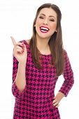 picture of flirty  - Attractive woman pointing finger  - JPG