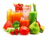 pic of smoothies  - Smoothies of different fruits and vegetables isolated on white - JPG