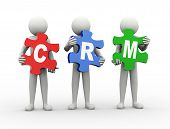 stock photo of customer relationship management  - 3d rendering of people holding puzzle pieces of crm  - JPG