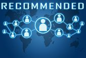 foto of recommendation  - Recommended concept on blue background with world map and social icons - JPG