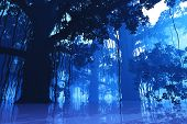 picture of mystique  - Mysterious Deep Jungle at Night in a Fairy Tale Fantasy Design 3D Illustration - JPG