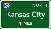 stock photo of kansas  - Kansas City USA Interstate Highway Sign Illustration - JPG