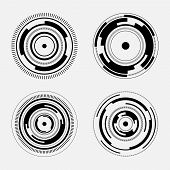 image of futuristic  - Collection of four abstract technology signs  - JPG