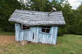 image of backwoods  - Ruined Shed with chimney and blue painted wooden wall - JPG