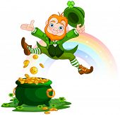stock photo of gold panning  - Illustration of joyful jumping leprechaun - JPG